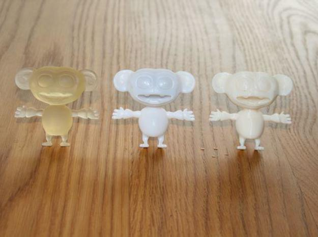 Cornelius 3d printed Little monkey babies! From left to right: transparent detail, white detail, cream robust.