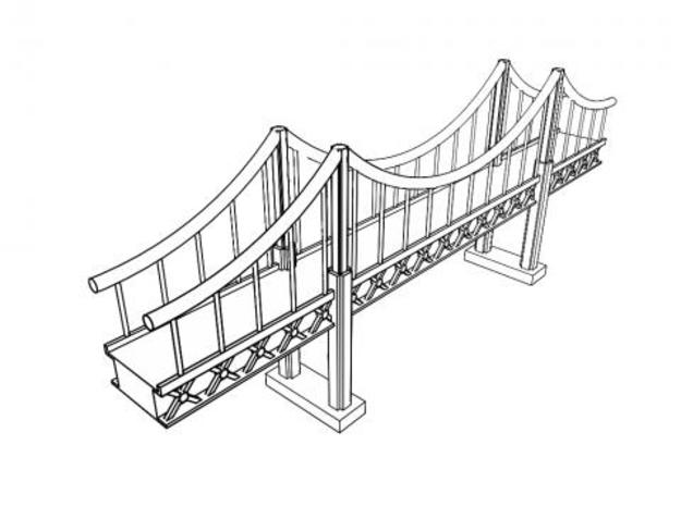 Suspension Bridge 1 3d printed Toon rendering of my suspension bridge in Maya.