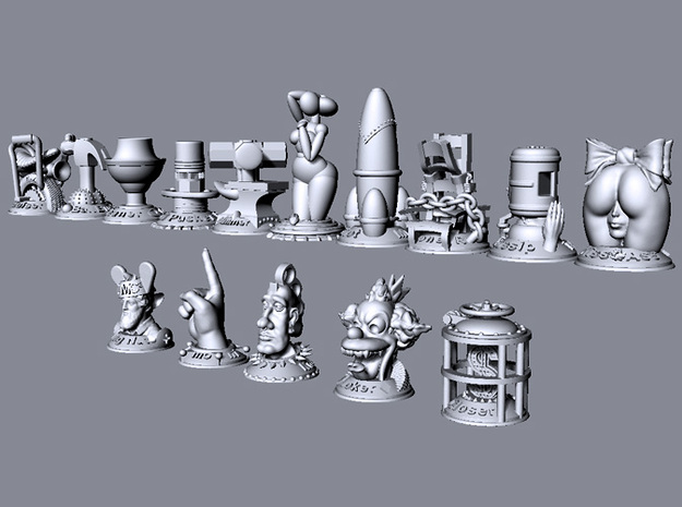 Knucklehead 3d printed This image shows the relative size of all models in the collection.
