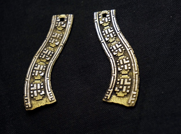Traveling Companions (Earrings) 3d printed READ BELOW - Gold Glossy (with sanded sections and black paint distressing)