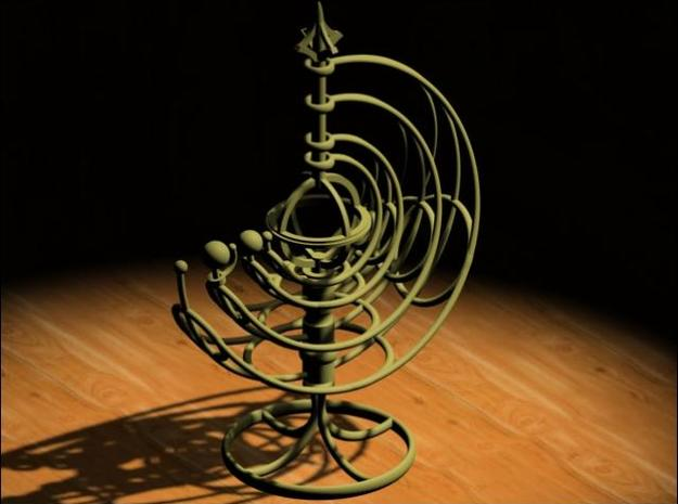 Orrery 3d printed A rendered view in 3D Studio Max.