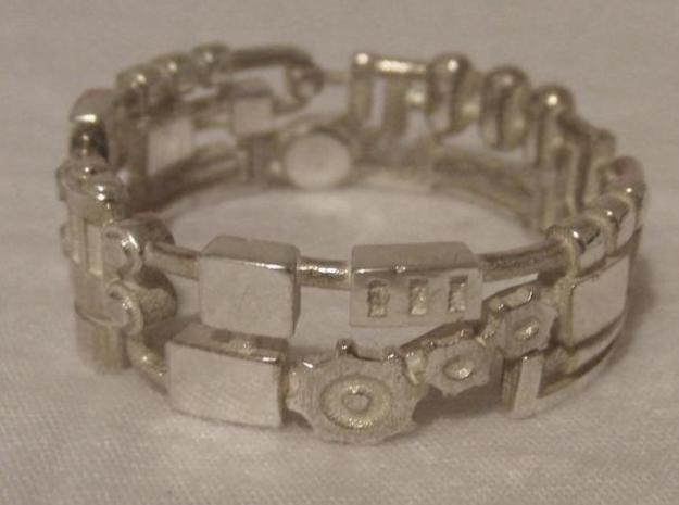 Mecha Ring (size 15ish in metal) 3d printed This is the Silver version.