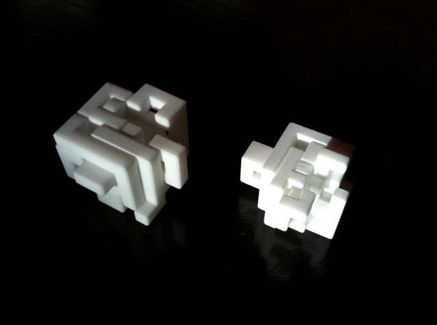 Switch Cube (2.4 cm) 3d printed 2.4 cm cube on the right - partially open