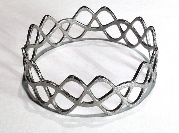 Braided Wave Bracelet (67mm) 3d printed in polished nickel steel