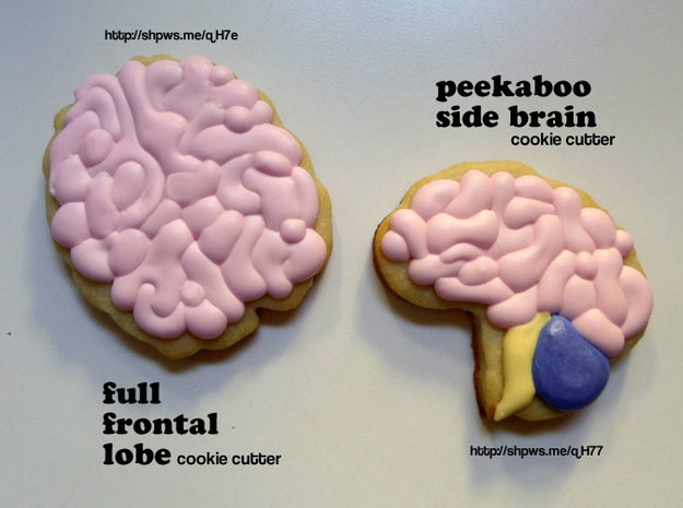 Peekaboo Side Brain Cookie Cutter 3d printed