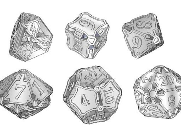 Dice Set 3d printed A set of polyhedral dice.