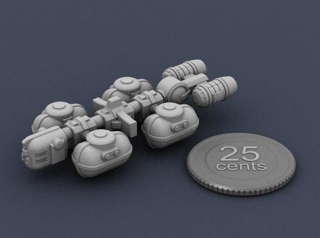 Fuel Tanker 3d printed Render of the model plus a virtual quarter for scale.