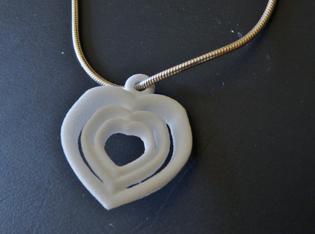 Love Hearts Pendant necklace Small Valentines day 3d printed