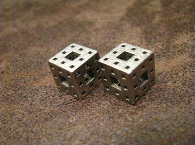 Menger Sponge Earrings 3d printed Just slightly smaller than our Menger pendant at 1.2cm per side.
