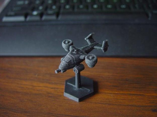 Terran Ground Attack VTOL 3d printed VTOL in black detail, mounted on a standard flight stand.