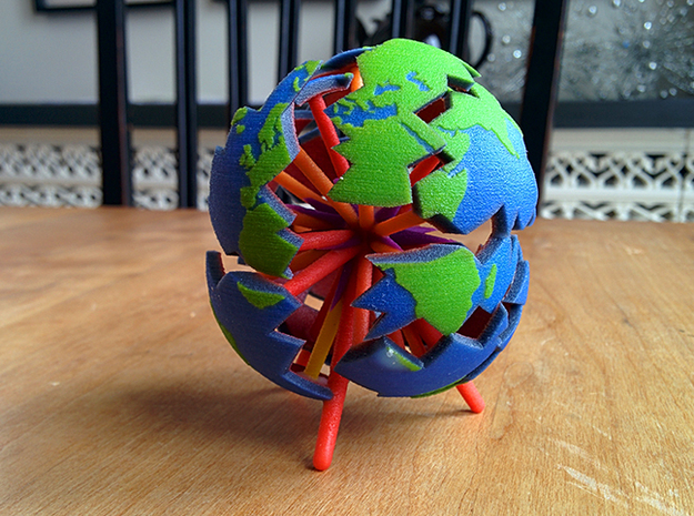 The Earth Explodes 3d printed