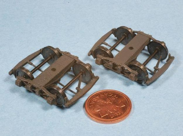 Swing Motion Truck - 22.7 mm axles 3d printed Printed and painted. Left is Frosted Detail, Right is Frosted Ultra Detail