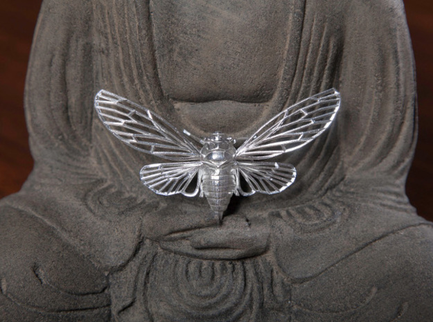 Sterling Silver Cicada 3d printed