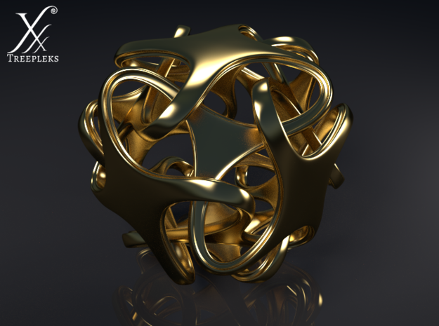 Hexatron Pendant 3d printed Cycle render (polished brass).
