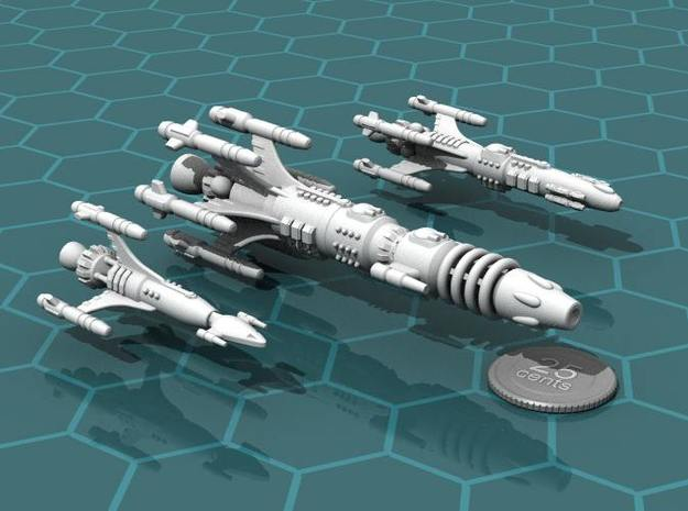 Privateer Buffalo class Dreadnought 3d printed Buffalo, with Antelope and Impala escorts.