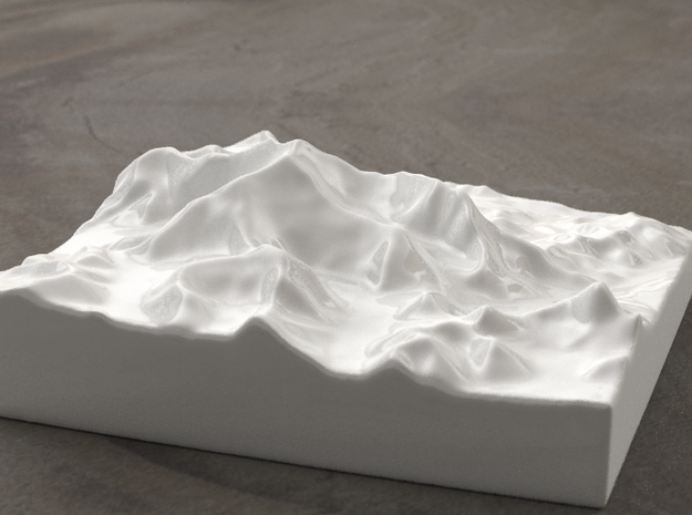 6''/15cm Mt. Everest, China/Tibet, Ceramic 3d printed Radiance rendering of Everest massif from the North