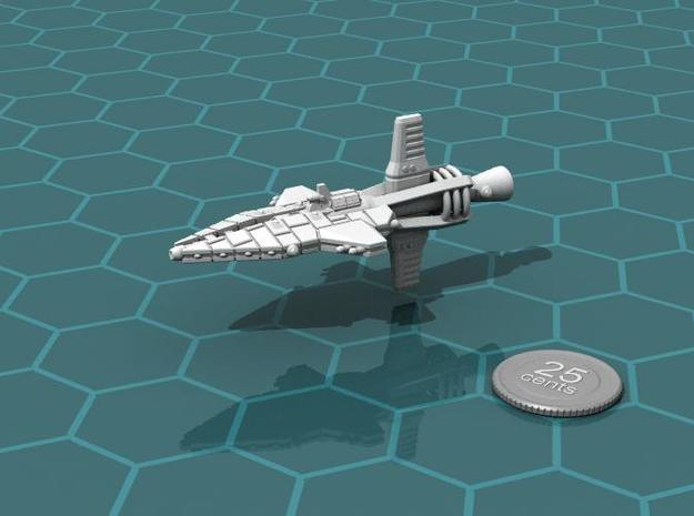 Mavridean Ularens class Dreadnought 3d printed Render of the model, with a virtual quarter for scale.