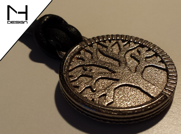 Tree of Life Pendant 3d printed Polished Nickel Steel