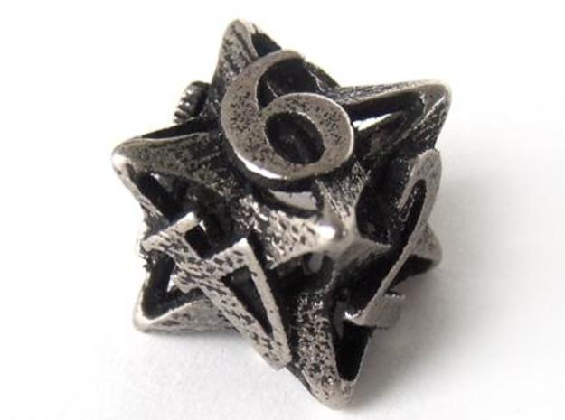 Pinwheel Die6 3d printed In stainless steel and inked