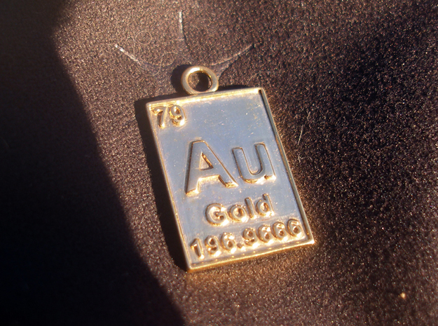 Gold Periodic Table Pendant 3d printed The Gold Periodic Table Pendant with polished gold finish.