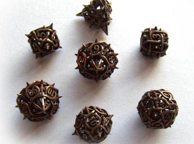 Thorn Dice Set with Decader 3d printed In antique bronze glossy