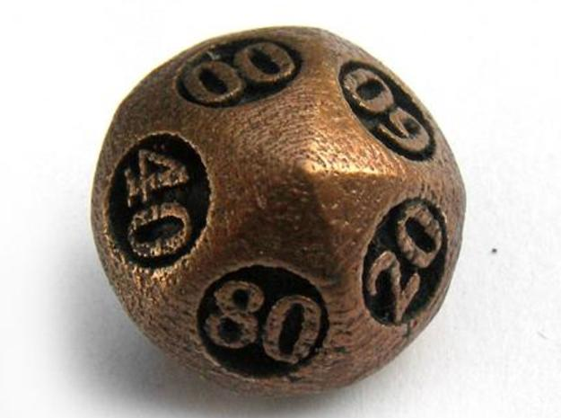 Overstuffed Decader Die10 3d printed In antique bronze glossy and inked