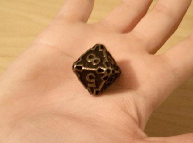 Large Die8 3d printed In antique bronze glossy and inked.