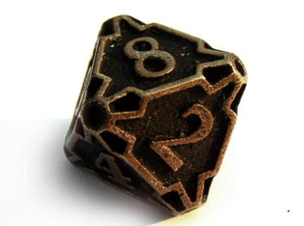 Large Die8 3d printed In antique bronze glossy and inked