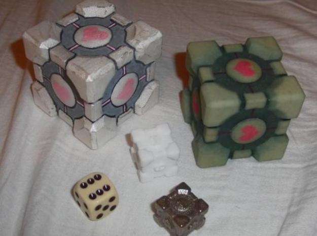 Weighted Cube Dice v1e -1.8cm 3d printed Some other Cubes I've made, next to the Dice printed in steel, as well as a normal dice next to it, for size comparison.