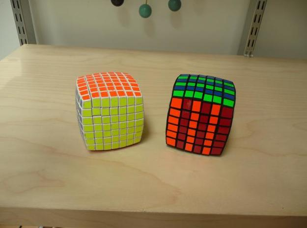 Pillowed 6x6 3d printed Comparison to V-Cube 7