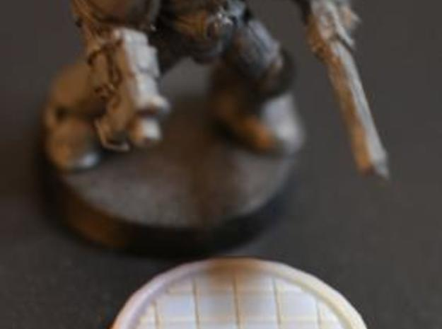 25mm Base Tiled 3d printed 25mm Tiled base with Miniature for Scale comparison.