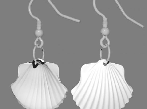 Concha earrings 3d printed Rendering of the earrings with the silvercoated hook from Shapeways