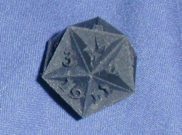 Great Dodecahedron - d20 3d printed In Black Detail, another shot.