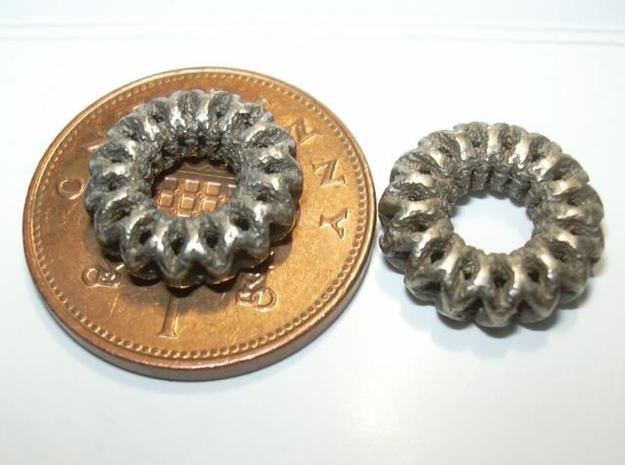 2 strand double mobius charm bead 3d printed Photo - penny shown for size