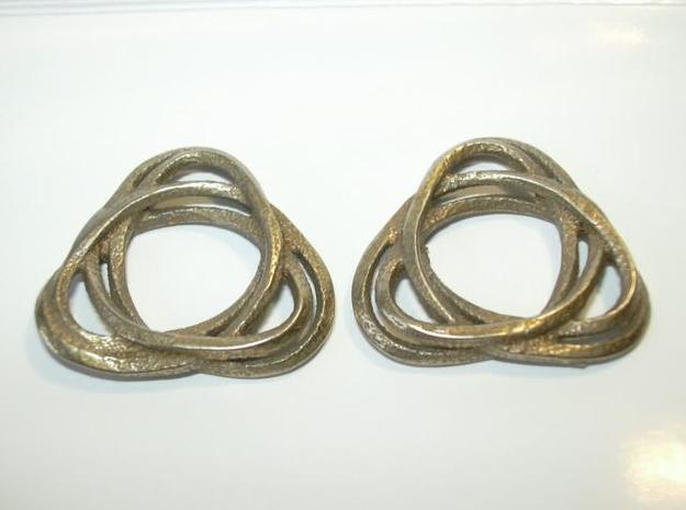 Tri mobius twin rail left earring 3d printed Photo of pair