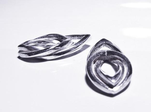 Leaf earrings 3d printed Polished Silver