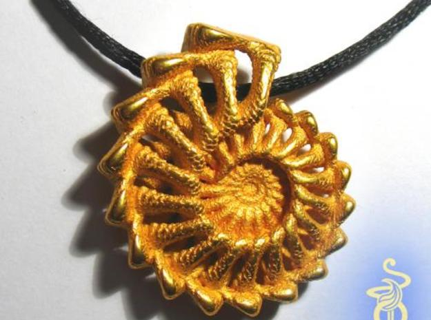 Winglink from the Ammonite Range by unellenu 3d printed linked_fractal_shell_4_pendant