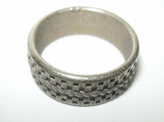 Check Rope ring 17.5mm, US 7 1/4, UK O1/2 3d printed Ring - as delivered