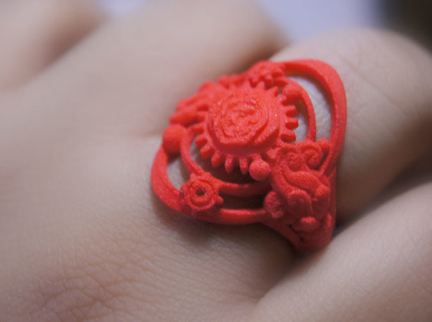 Botanika Mechanicum Ring SIZE 10 3d printed Coral Red Strong and Flexible