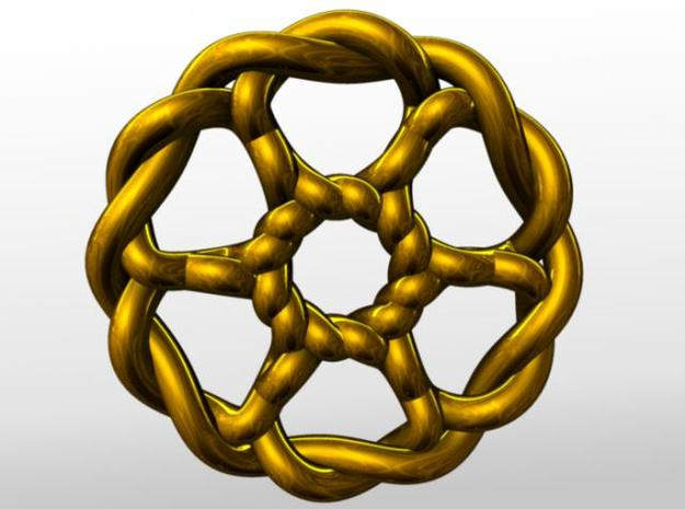 Celtic Knots 07 (small) 3d printed Rendered in gold.