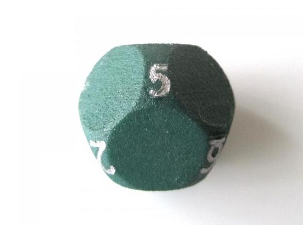 D10 4-fold Sphere Dice 3d printed In Winter Green Strong and Flexible (the colors on the numbers were manually added) - other view