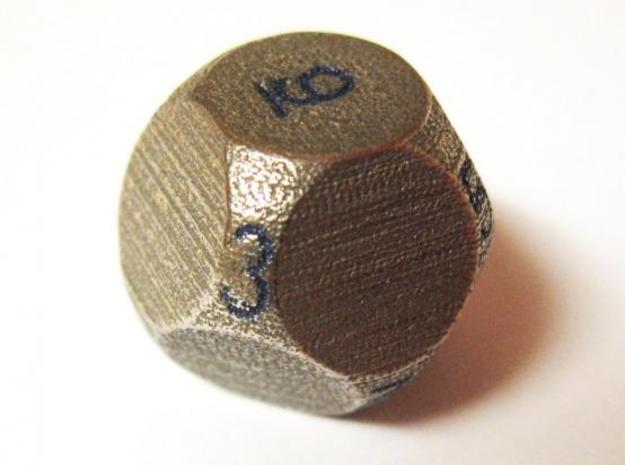 D10 4-fold Sphere Dice 3d printed In Stainless Steel with number manually inked (photo courtesy of Justin M.)