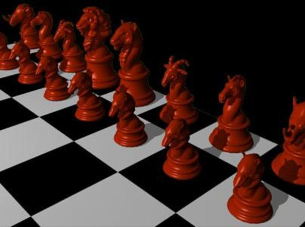 Chess Set (one player side) - Animal Kingdom 3d printed Rendered in Red in Maya.