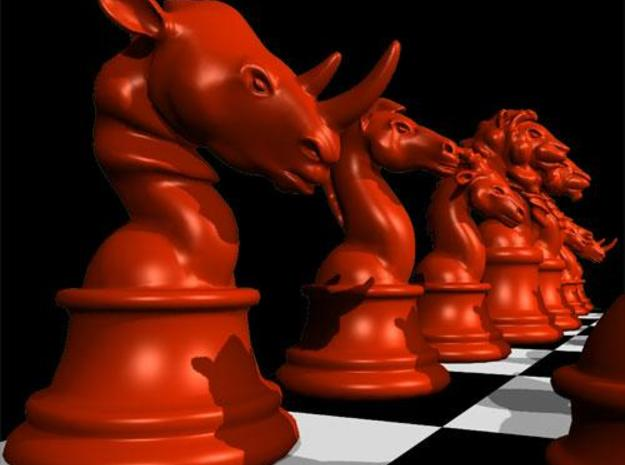 Chess piece – Rhino as Rook 3d printed Rook render in Maya, red color.