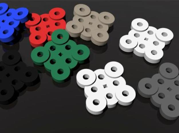 Buttons 3d printed A rendering of the buttons in different colors