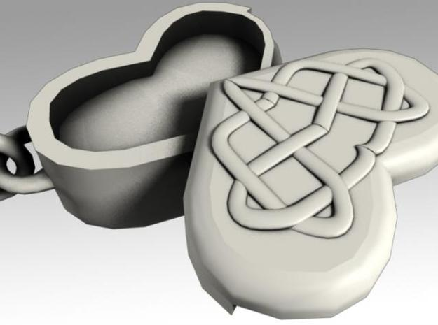 Heartbox Locket (Celtic Knot) 3d printed Opened.