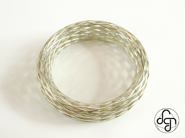 Toroidal Knot Bangle 3d printed Detail [Polished Silver]