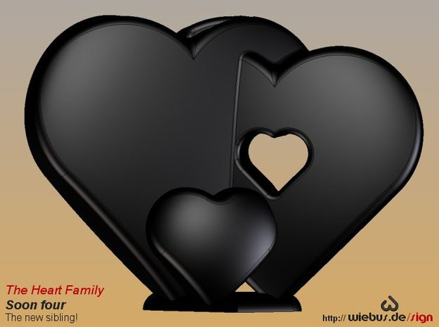 Heart Family - Soon four! (large size) 3d printed