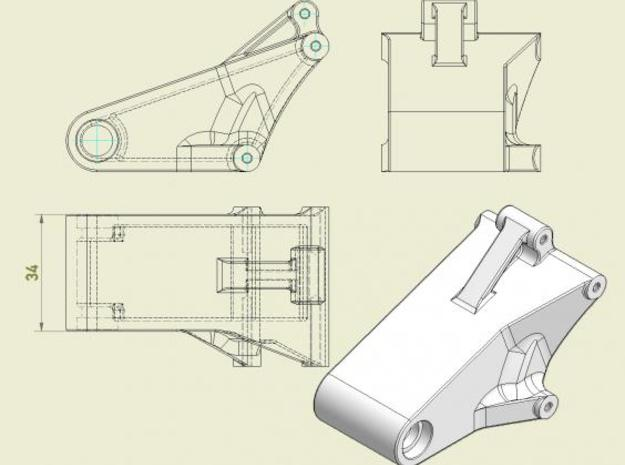SB5 Rear Swingarm BOX DESIGN 3d printed Drawing