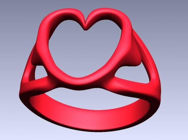 3-Heart Ring 3d printed Rendered in red